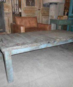 Vintage blauw geschuurde teakhouten salontafel-1