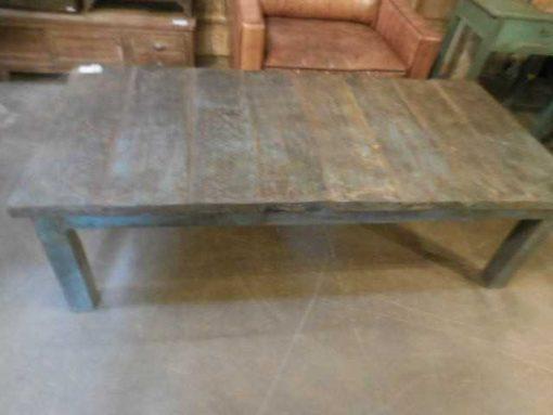 Vintage blauw geschuurde teakhouten salontafel-3