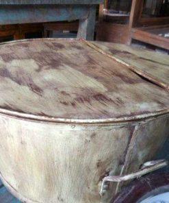 Vintage round salon table metal -1