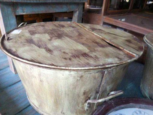 Vintage metalen ronde salon tafel-1