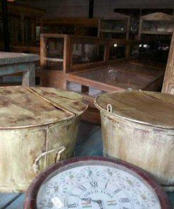 Vintage metalen ronde salon tafel-2