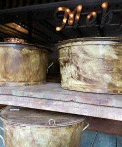 Vintage metalen ronde salon tafel-3