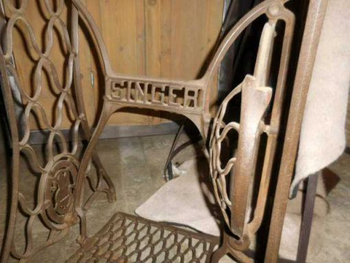 Table with frame of an antique Singer sewing machine-4