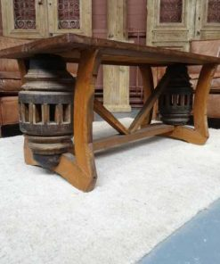 Cart wheel coffee table -1