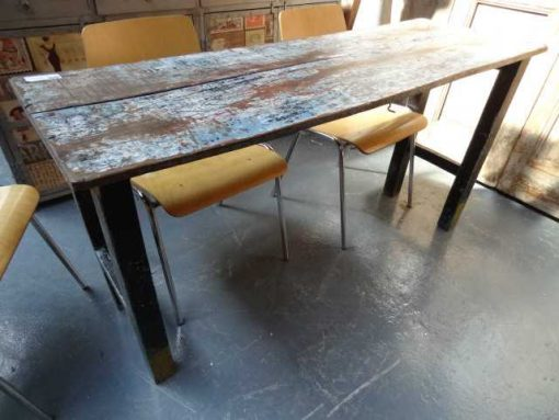 Various old folding wood tables-1