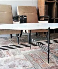 Ovale Salontafel Met Wit Marmeren Blad En Zwart Frame-1