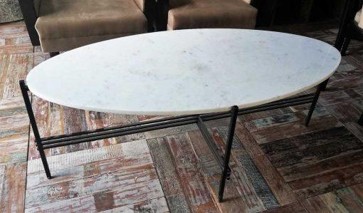 Ovale Salontafel Met Wit Marmeren Blad En Zwart Frame-2
