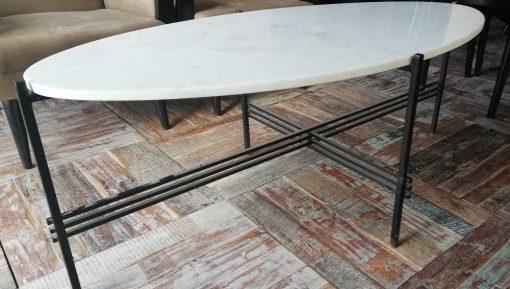 Ovale Salontafel Met Wit Marmeren Blad En Zwart Frame-3
