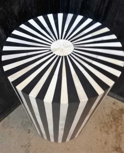 Runde schwarz / weiße Tischplatte / Säule-3