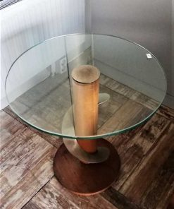 Antique Art Deco side table with glass top-1