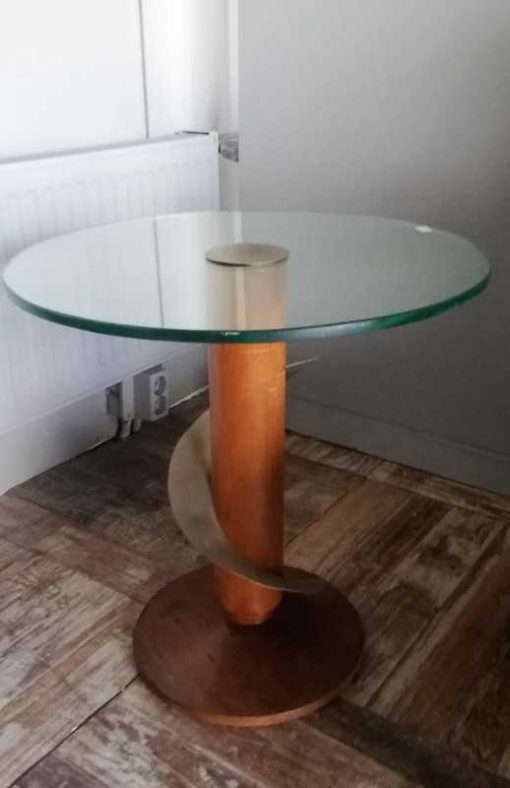 Antique Art Deco side table with glass top-2