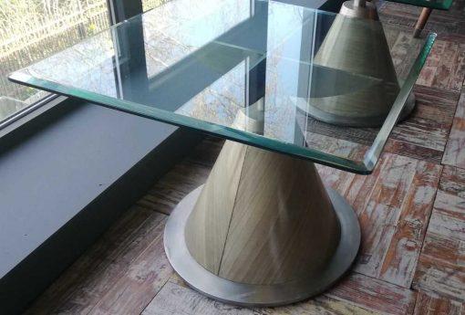 Antieke Art Deco Vierkanten Salontafel Met Glazen Blad-2