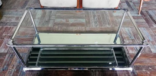 Antique coffee table with glass top and mirrored bottom-1
