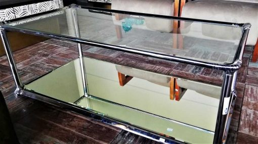 Antique coffee table with glass top and mirrored bottom-2