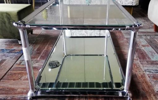 Antique coffee table with glass top and mirrored bottom-4