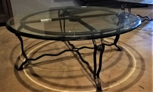 Vintage round glass coffee table-2