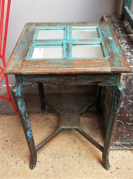 Blauwe Vintage Bijzettafel Met Spiegeltjes-1