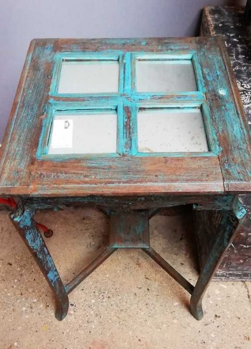 Blauwe Vintage Bijzettafel Met Spiegeltjes-2