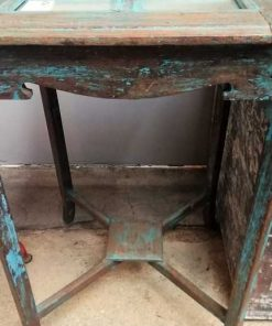 Blauwe Vintage Bijzettafel Met Spiegeltjes-3