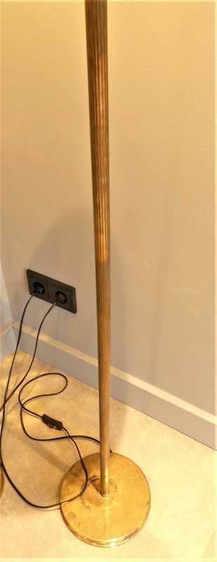Vintage Lampen aus Bronze mit gelber Glaskugel-3
