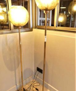 Vintage bronze lamps with yellow glass ball-4