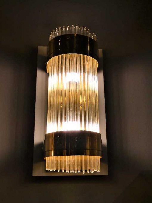 Antieke bronzen wandlamp met glazen staafjes-2