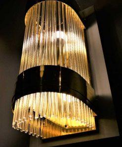 Antieke bronzen wandlamp met glazen staafjes-3