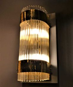 Antique bronze wall lamp with glass rods-5