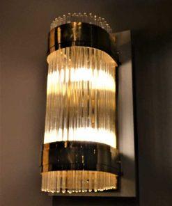 Antieke bronzen wandlamp met glazen staafjes-5