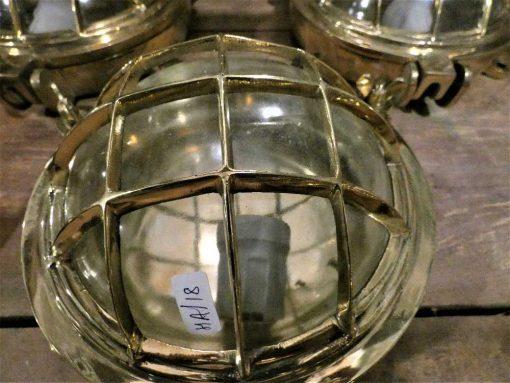 Authentieke oude bronzen scheepslamp / plafonniere / wandlamp-2