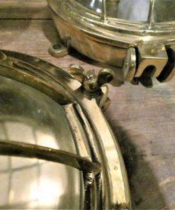 Authentieke oude bronzen scheepslamp / plafonniere / wandlamp-3