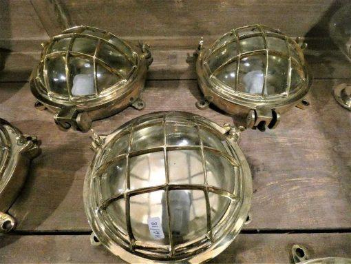 Authentieke oude bronzen scheepslamp / plafonniere / wandlamp-4