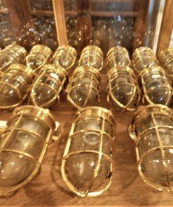 Vintage bronzen scheeps lamp-3
