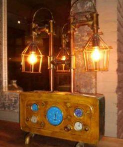 Unieke industriele lamp gemaakt van oude onderdelen-2