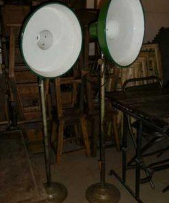 Vintage industriele emaillen groen lamp op standaard-2