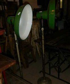 Vintage industriele emaillen groen lamp op standaard-3