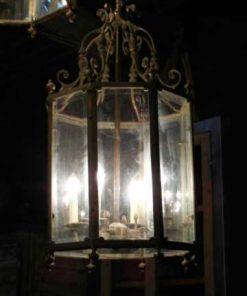 Grote 6-kantige bronzen lantaarn / hanglamp-1