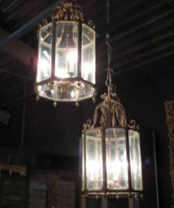 Grote 6-kantige bronzen lantaarn / hanglamp-2