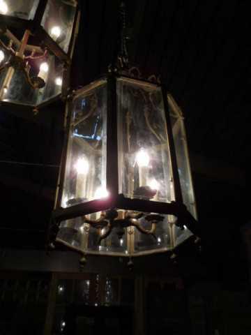 Grote 6-kantige bronzen lantaarn / hanglamp-3