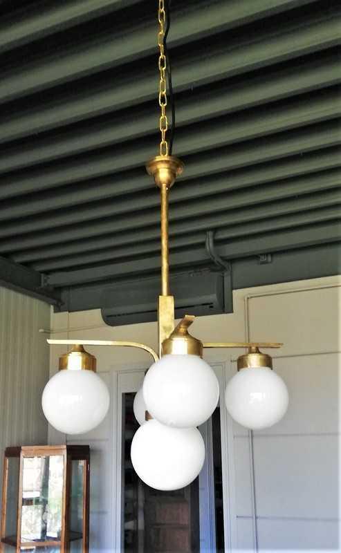 Antieke Art Deco Hanglamp Met Melkglazen Bollen-1