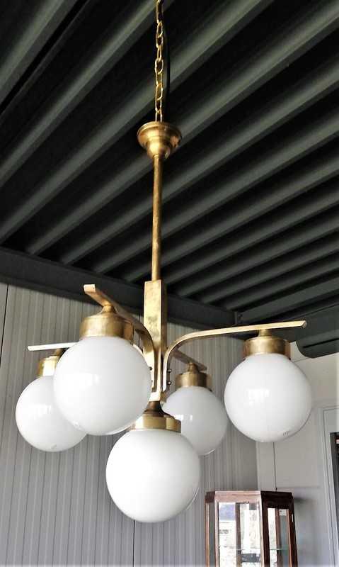 Antieke Art Deco Hanglamp Met Melkglazen Bollen-2