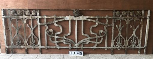 Antique Wrought iron Art Nouveau Fence-1