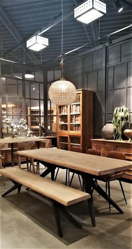 Sleek Acacia Dining Table With Dining Sofa-1