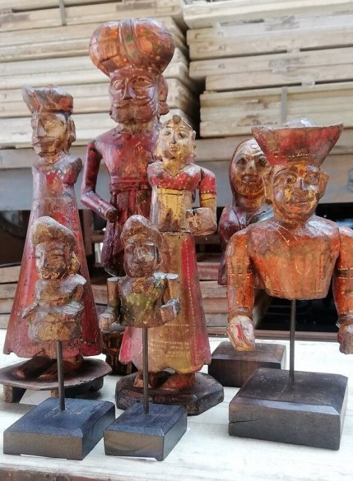 Old Colored Wooden Statues-1
