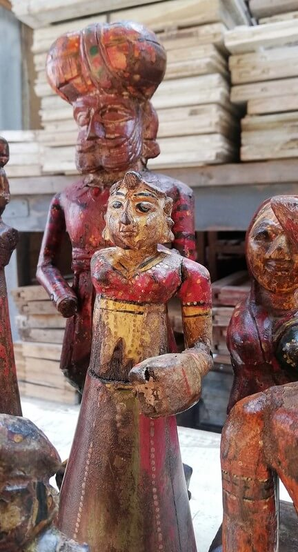Old Colored Wooden Statues-2