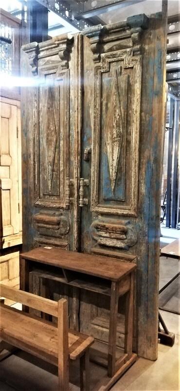 Antieke Blauwe Buiten Deuren-1