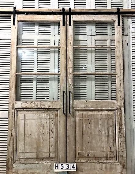 Antikglas-Doppeltüren mit Schiebesystem-1