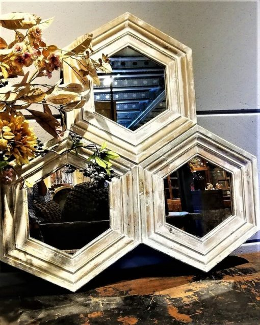 Honeycomb Mirror With White Wooden Frame-1