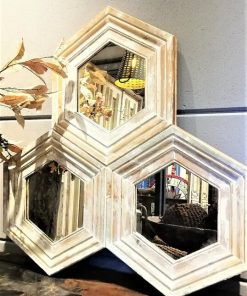 Honeycomb Mirror With White Wooden Frame-2