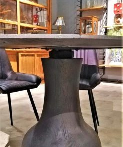 Black Round Wooden Table / Bar Table-3